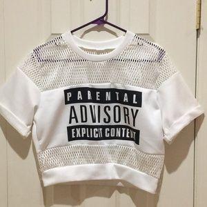 """Parental Advisory Explicit Content"" Crop Top"